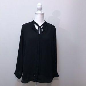 Mossimo Black Sheer Blouse Size XXL Long sleeve
